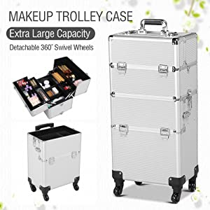 a2bce726abab Gotobuy 3 in 1 Makeup Beauty Nail Case Cosmetics Trolley Bag Box Maquillaje  Profesional (Silver)
