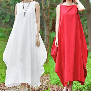 89eb15a17fe Romacci Women Maxi Sleeveless Dress Plus Size Pockets Loose Swing ...