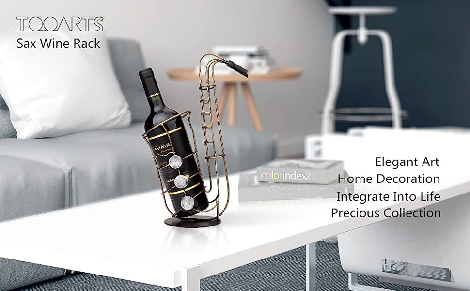 Amazon.com: Tooarts Metal Sax Wine Rack Wine Bottle Holder