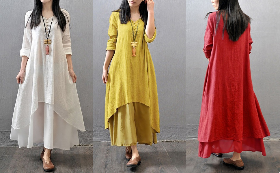 097dd5ed9bac Romacci Women Boho Dress Casual Irregular Maxi Dresses Layer Vintage ...