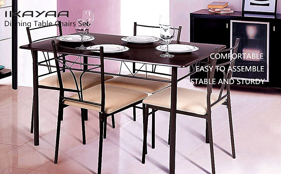 Wood Dinning Table Chairs Set 4 Person Dining Table Set