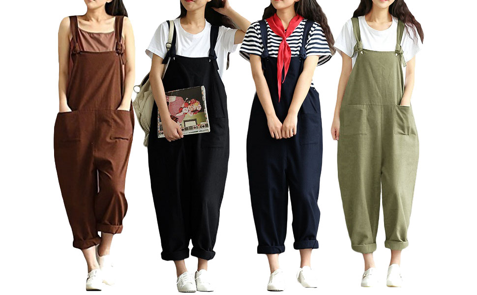6b7998f937c5 Amazon.com  Romacci Women s Strap Overall Pockets Bib Baggy Playsuit ...