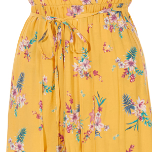 35ed4dd3359 LE3NO Womens Floral Print Short Sleeve Wrapped V Neck Maxi Romper ...