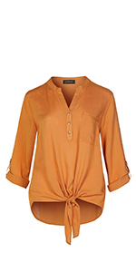 ab227b06 LE3NO Womens Roll Up 3/4 Sleeve Button Down Shirt with Stretch L3NWT574A  Women's Clothing
