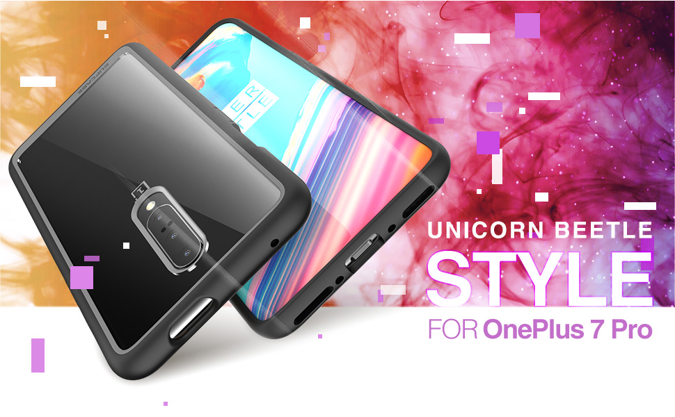 SupCase [Unicorn Beetle Style Series Case Designed for Oneplus 7 pro, Premium Hybrid Protective Clear Oneplus 7 pro Case (Black)