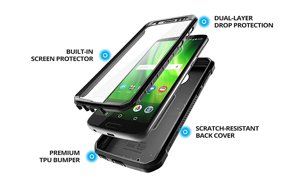 SupCase Full-Body Case for Moto G6, with Built-in Screen