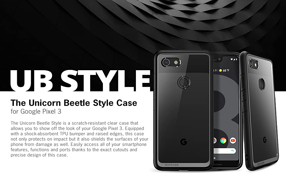 Supcase Unicorn Beetle Style Clear Case for Google Pixel 3