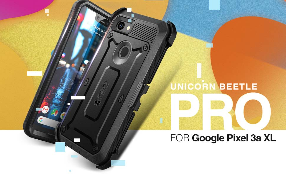 Supcase Unicorn Beetle Pro Holster Rugged Bmper Case with Screen Protector for Google Pixel 3a XL