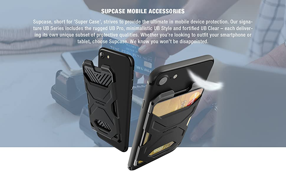SUPCASE Adhesive Slim Wallet Stick-On Credit Card Holder for smartphone
