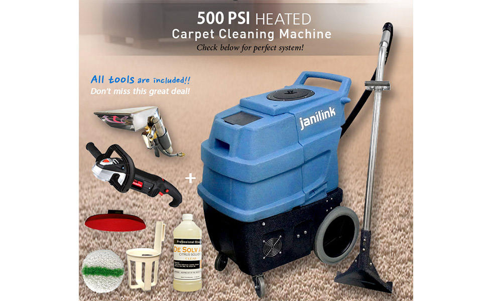 JANILINK 500 psi Carpet Extractor, 3 Vacuum Motors with 2 Stages Each Motor