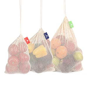 SIMPLY ECO 8 Cotton reusable produce bags with drawstring.