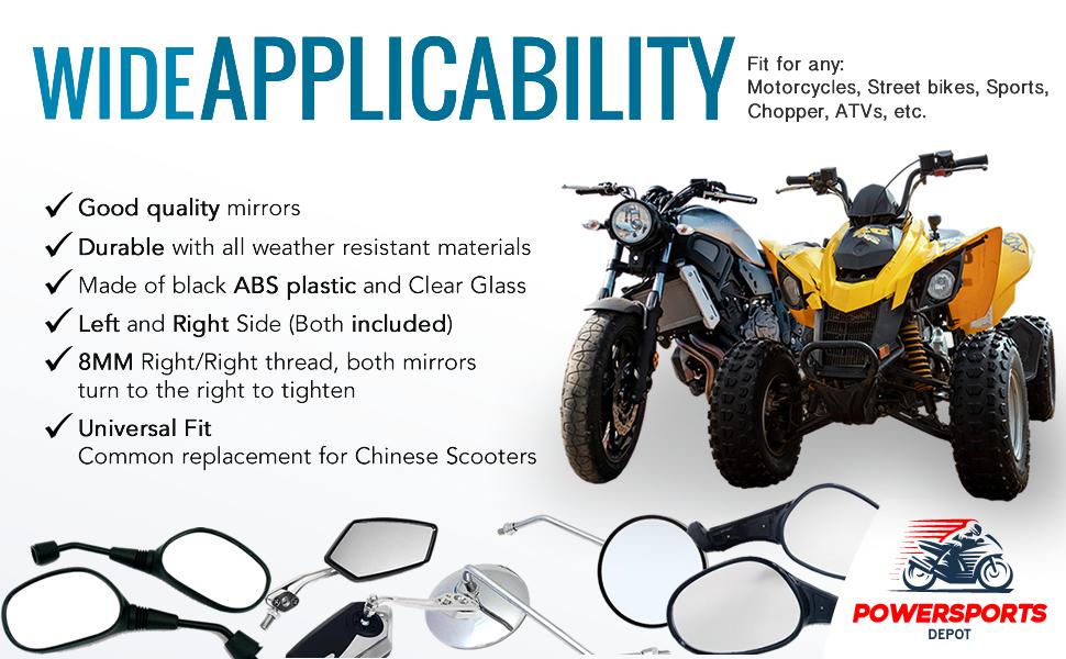 Flat Black 8mm RH//RH Thread 4235 Motorcycle Scooter Universal Fit Adjustable Mirror Set