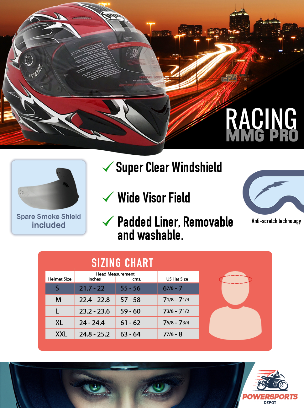 Motorcycle Full Face Helmet with Clear Flip Up Shield and Retractable Inner Smoked Shield