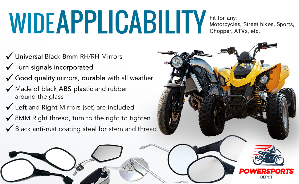 8mm MIRROR SET WITH TURN SIGNAL /& HARDWARE FOR 50cc 150cc 250cc GY6 SCOOTERS