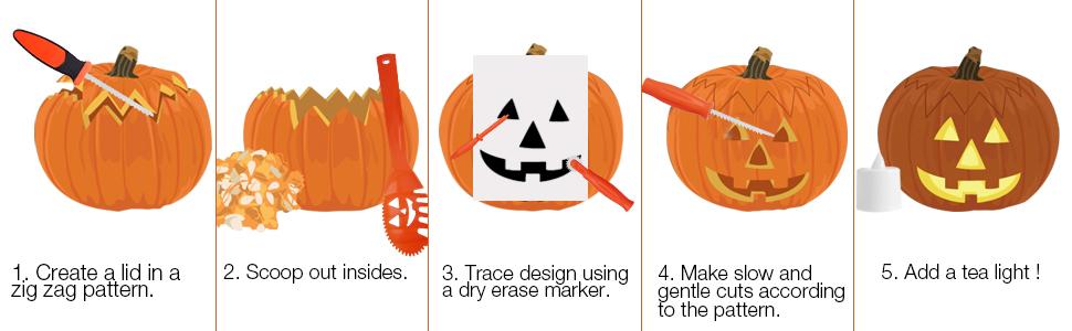 amazon com skinosm pumpkin carving kit for kids 5 easy halloween