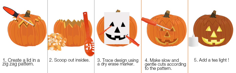 amazon com skinosm pumpkin carving kit for kids, 5 easy halloweenpumpkin carving tools