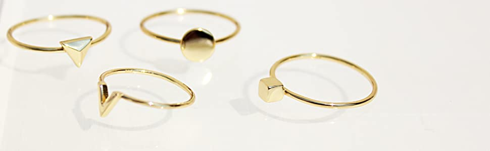 Gold plated thin rings