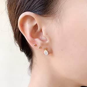 pineapple stud and silver ball earrings set