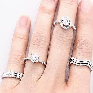 wedding band stacking band engagement ring