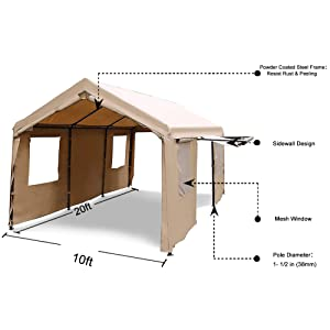 Amazon.com: Abba Patio 10 x 20-Feet Heavy Duty Carport ...