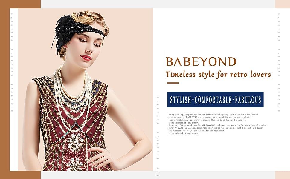 df9ad1917df BABEYOND Women s Flapper Dresses 1920s V Neck Beaded Fringed Great ...