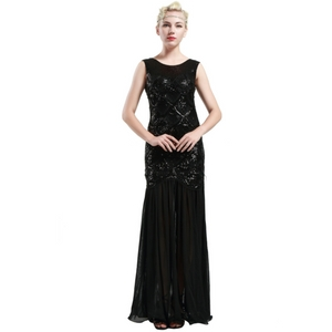 BABEYOND 1920s Beaded Sequin Evening Dress
