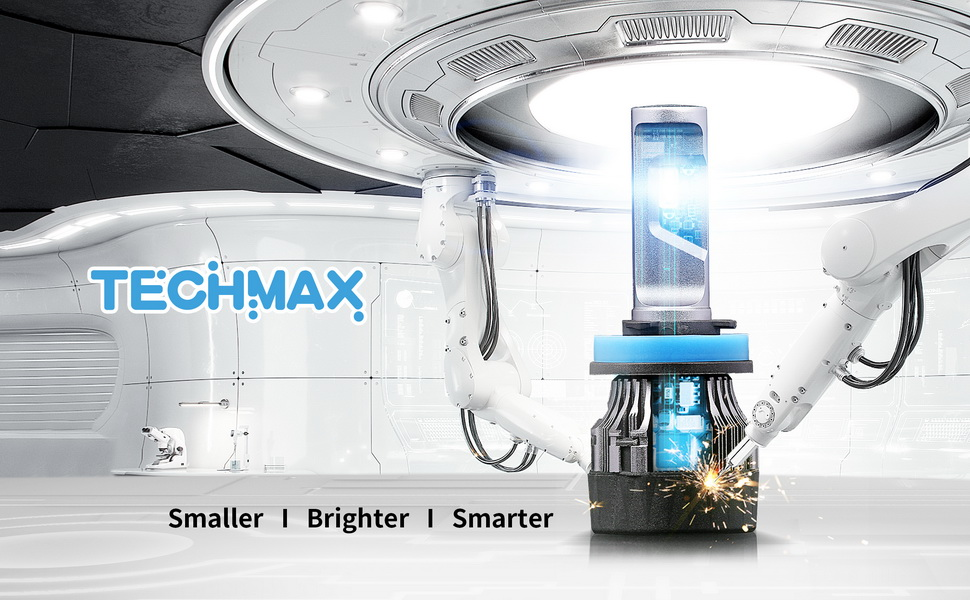 TECHMAX Mini H4 LED Headlight Bulb,10000Lm 4700Lux 6500K Cool White IP65 Extremely Bright 30mm Heatsink Base CREE Chips 9003 Hi//Lo Conversion Kit of 2