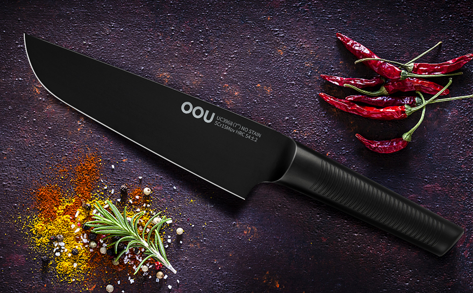 Amazon Com Chef Knife Oou Pro Kitchen Knife 7 Inch Chef Knife High Carbon Stainless Steel Chef Knife With Ergonomic Handle Ultra Sharp To Cut Meat Veggies Black Oxidation For Anti Rusting 7 Chef
