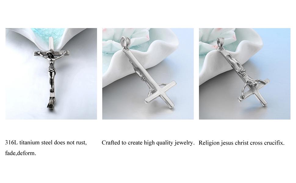 094aab428b20d Xusamss Punk Titanium Steel Inverted Cross Pendant Skull Necklace,24inches  Chain