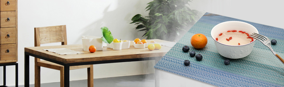 tablemats blue