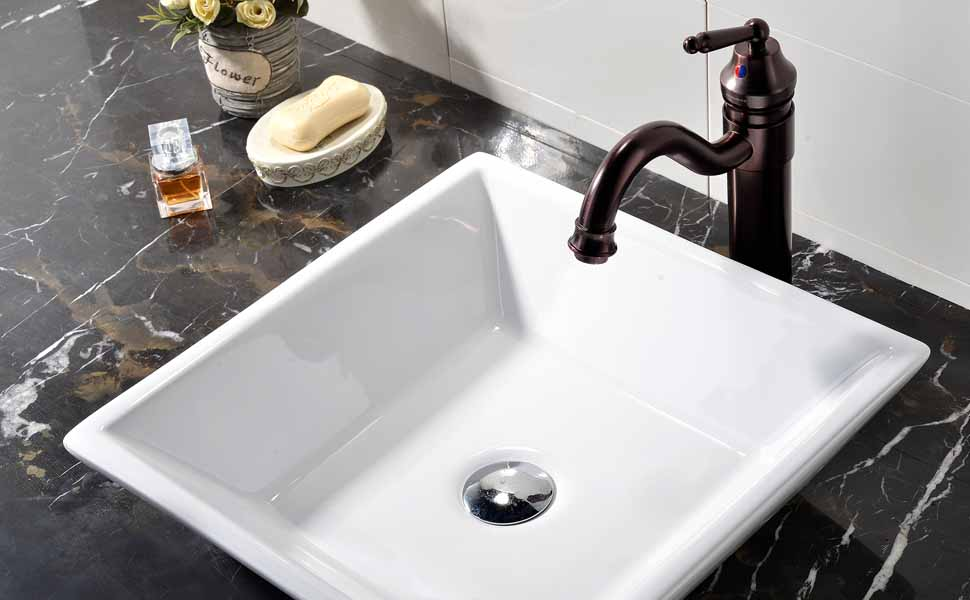 vanity countertop with sink. VCCUCINE White Square Above Counter Porcelain Ceramic Vessel Vanity  Bathroom Sink Art Basin