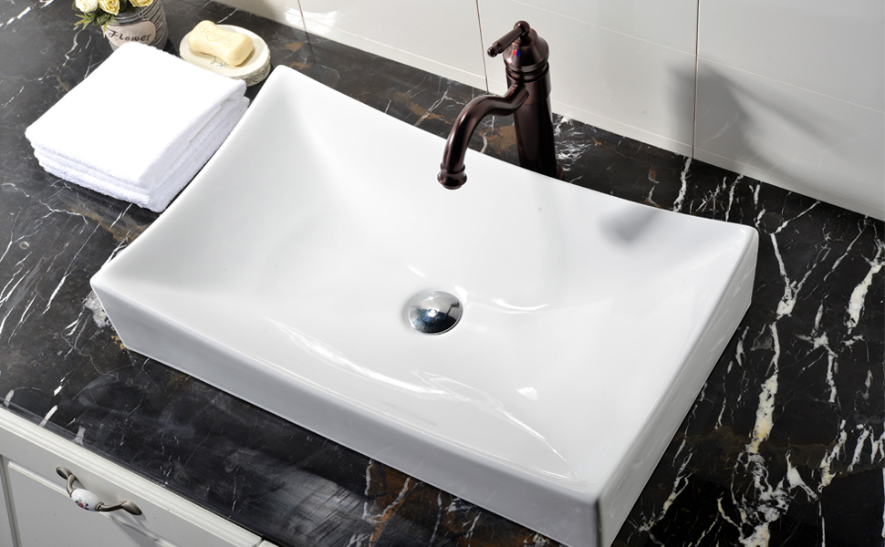 White Rectangle Porcelain Ceramic Above Counter Bathroom