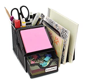 easypag mesh collection desk organizer with 3 upright letter sorter and drawer 2 pencil holder part 1 sticky note pad holder 3 solt letter sorter and drawer