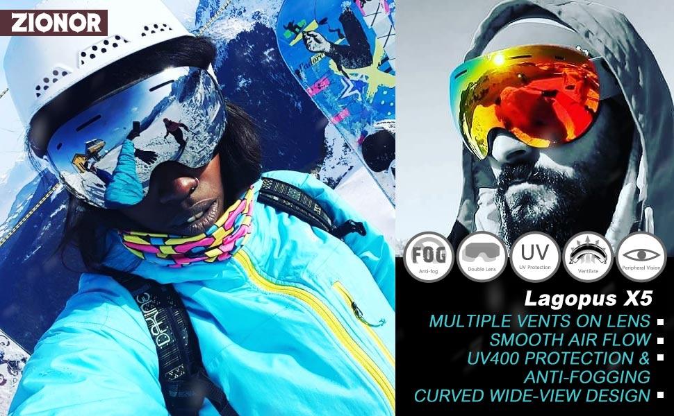 824f2a0296 Amazon.com   ZIONOR X5 Ski Snowmobile Snowboard Snow Goggles with ...