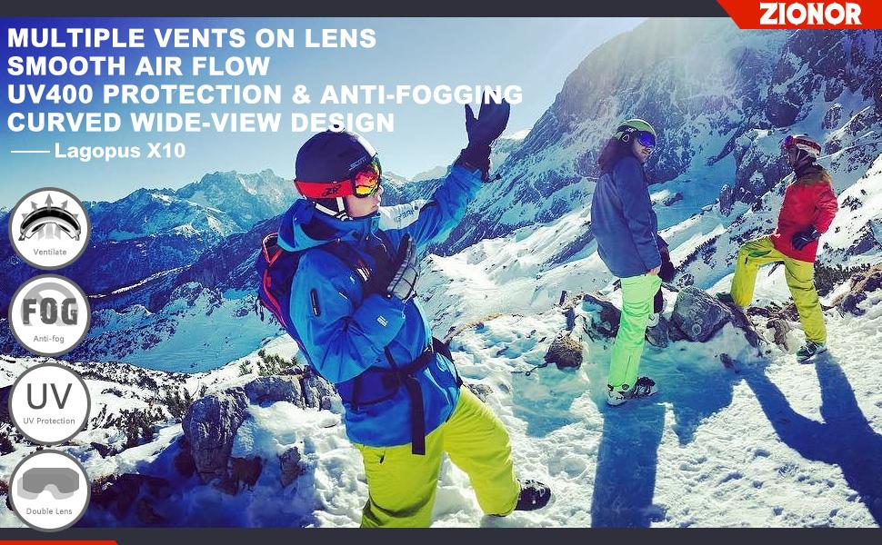 1be972d2aee ZIONOR Lagopus X10 Ski Snowboard Snow Goggles OTG for Men   Women 100% UV  Protection Helmet Compatible Detachable Lens