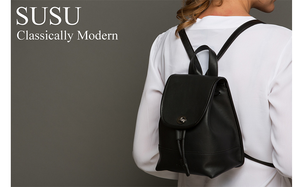 Amazon.com: SUSU Leather Backpack for women Small Backpacks Black ...