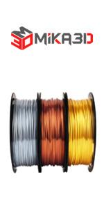 shine silk pla silver copper gold pla