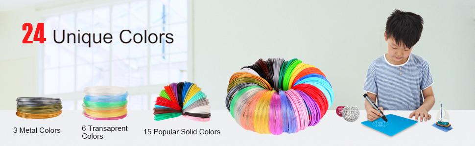 24 colors 3d pen pla filament refills