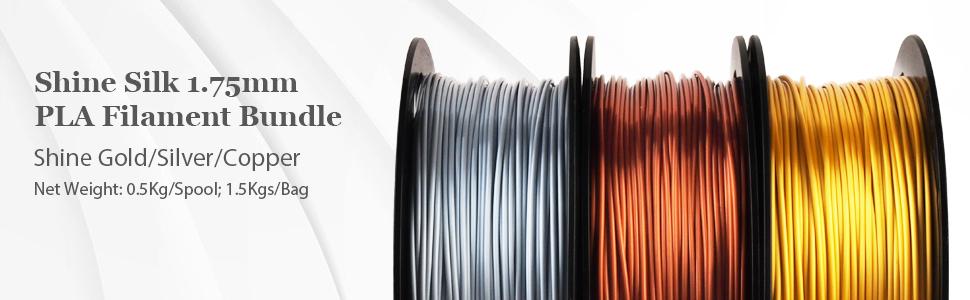 shine silk 1.75mm pla filament bundle silver gold copper