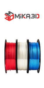 shine silk red white blue 3d printer filament bundle