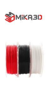 normal 1.75 3d printer pla filament white red black bundle