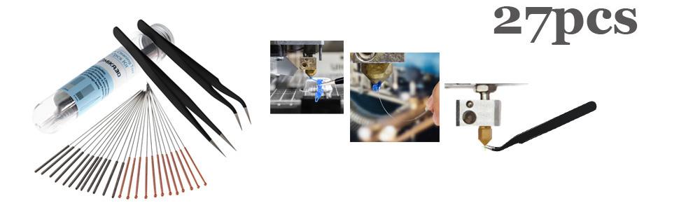 27pcs 3d printer nozzle cleaner accessories