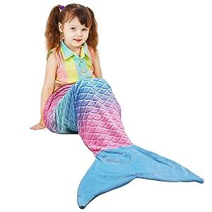 Softan Kids Mermaid Tail Blanket,Plush Soft Flannel Fleece All Seasons Sleeping Blanket Bag,Rainbow Ombre Glittering Fish Scale Design Snuggle Blanket,Best Gifts for Girls,17/×39