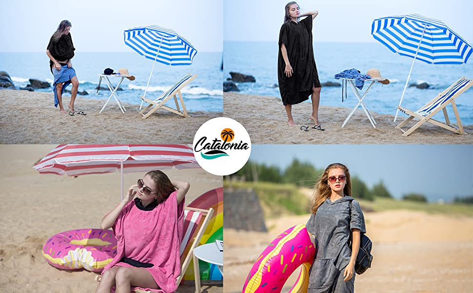 Catalonia Beach Surf Poncho,Super Water Absorbent Wetsuit Changing Towel Robe with Hood for Surfing Swimming Bathing for Adults Men ...