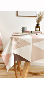 pink tablecloth deer head