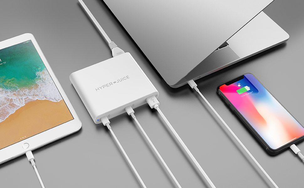 HyperJuice 87W Dual USB-C Charger with QC 3.0 USB-A