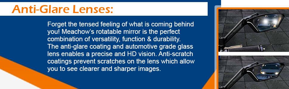 Bike mirror offers anti-glare glass.