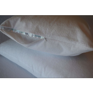 pillow with protector on it partially zipped