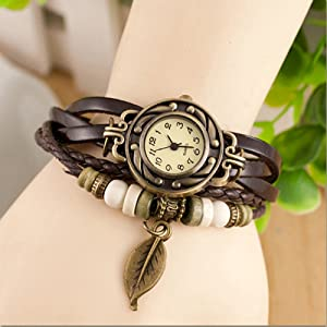af40c3518 Amazon.com: JewelryWe Women Quartz Bracelet Watch Fashion Weave Wrap ...
