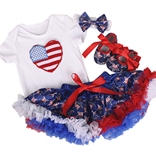 4th of July Baby Girl Summer Dress Outfits Flag Stars Striped Romper Top Sleeveless Bow Tutu Skirt 1Pcs Clothing Set